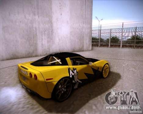 Chevrolet Corvette C6 super promotion for GTA San Andreas back left view