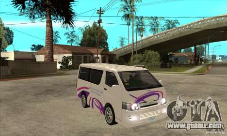Toyota Hiace for GTA San Andreas side view