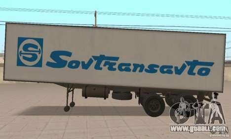 Sovtransavto Trailer for GTA San Andreas back left view