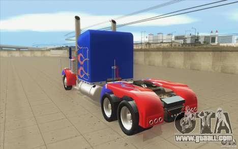 Peterbilt 379 Optimus Prime for GTA San Andreas back left view