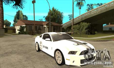 Ford Shelby GT 500 2010 for GTA San Andreas back view