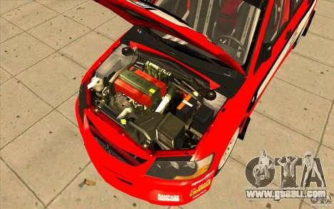 Mitsubishi Lancer Evo IX DiRT2 for GTA San Andreas upper view