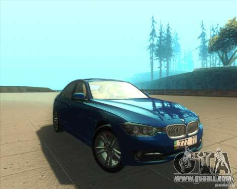 BMW 3 Series F30 2012 for GTA San Andreas back view