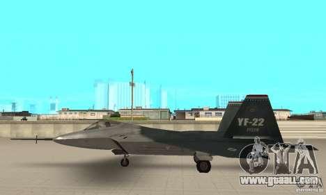 YF-22 Standart for GTA San Andreas left view