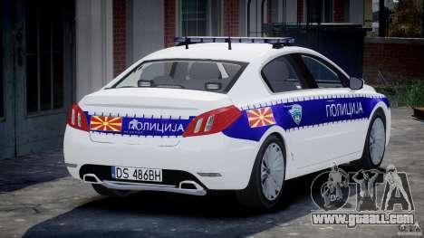 Peugeot 508 Macedonian Police [ELS] for GTA 4 back left view