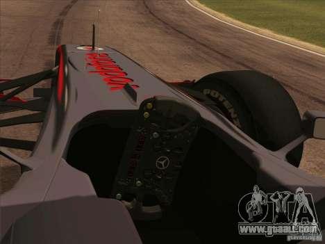 McLaren MP4-25 F1 for GTA San Andreas right view