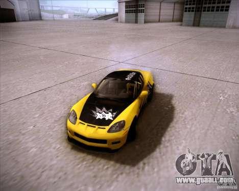 Chevrolet Corvette C6 super promotion for GTA San Andreas back view