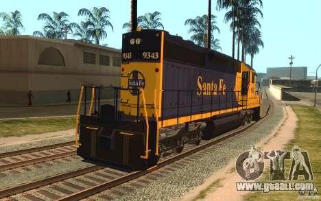 Locomotive SD 40 Santa Fe Blue/Yellow for GTA San Andreas back left view