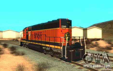 Locomotive SD 40 Union Pacific BNSF for GTA San Andreas back left view