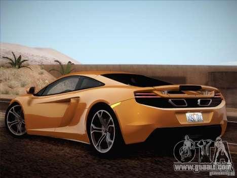 McLaren MP4-12C BETA for GTA San Andreas inner view