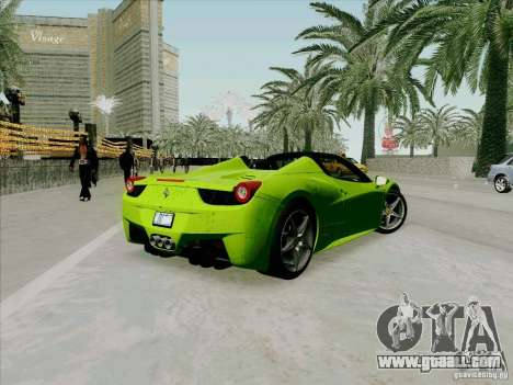 Ferrari 458 Spider for GTA San Andreas back left view