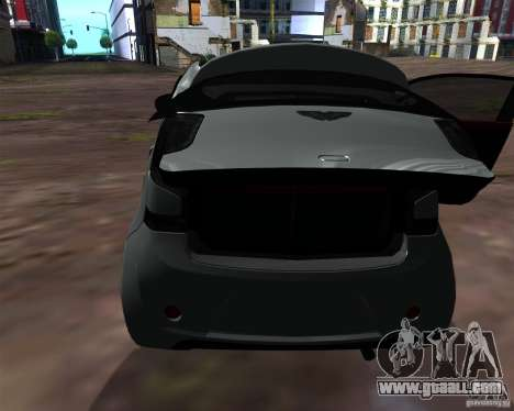 Aston Martin Cygnet for GTA San Andreas inner view