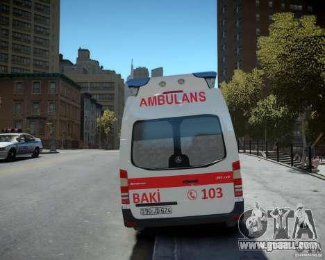 Mercedes-Benz Sprinter Azerbaijan Ambulance v0.2 for GTA 4 back view