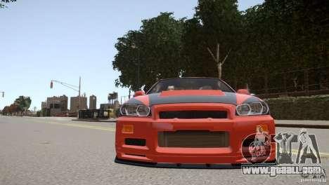 Nissan Skyline GT-R R34 Underground Style for GTA 4 side view