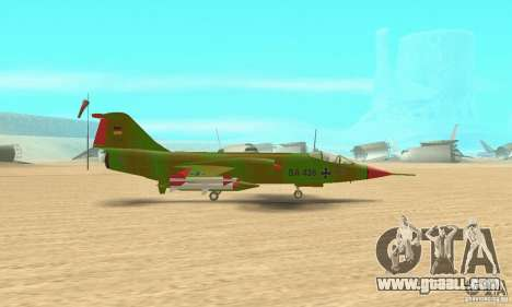 F-104 Starfighter Super (green) for GTA San Andreas back left view