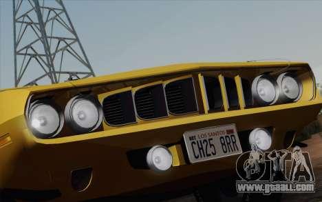 Plymouth Hemi Cuda 426 1971 for GTA San Andreas interior
