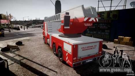 Scania Fire Ladder v1.1 Emerglights red [ELS] for GTA 4 back left view