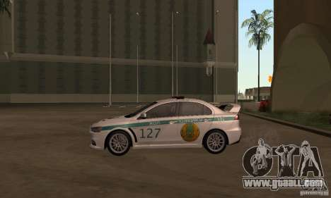 Mitsubishi Lancer Evolution X Police Of Kazakhst for GTA San Andreas back left view