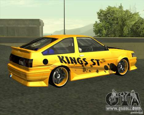Toyota AE86 Levin for GTA San Andreas back left view