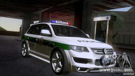 Volkswagen Touareg Policija for GTA San Andreas right view