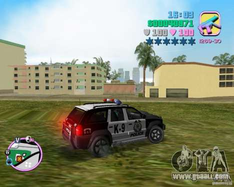 Jeep Grand Cheeroke COPSUV FROM NFS:MW for GTA Vice City left view