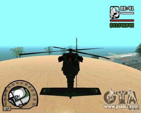 Blackhawk UH60 Heli for GTA San Andreas back view