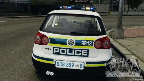 Volkswagen Golf 5 GTI South African Police [ELS] for GTA 4 bottom view