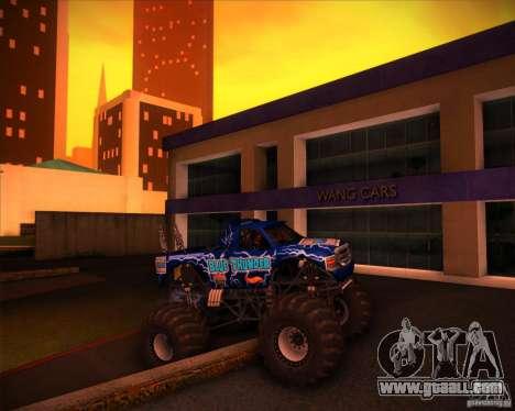Monster Truck Blue Thunder for GTA San Andreas upper view