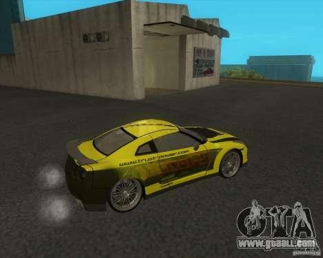 Nissan GTR35 for GTA San Andreas back left view