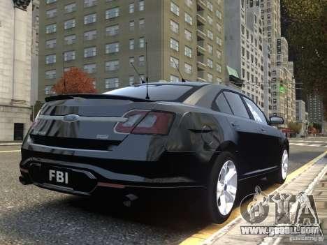 Ford Taurus FBI 2012 for GTA 4 back view