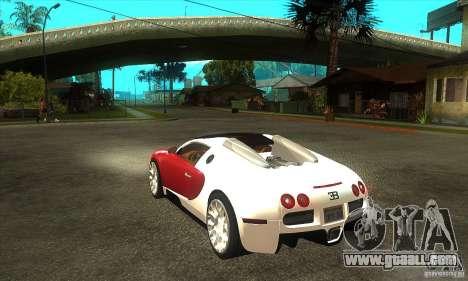 Bugatti Veyron Grand Sport for GTA San Andreas back left view
