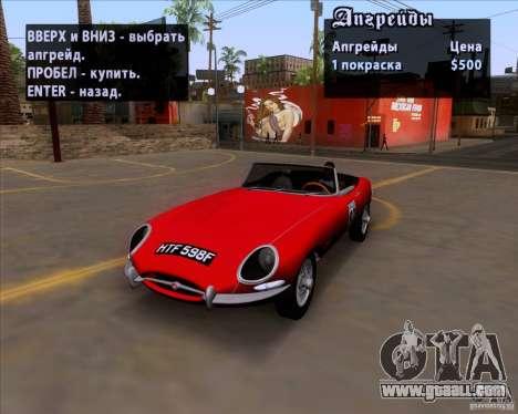Jaguar E-Type 1966 for GTA San Andreas inner view