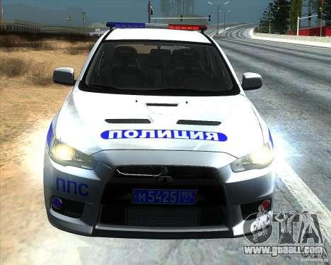 Mitsubishi Lancer Evolution X PPP Police for GTA San Andreas back view
