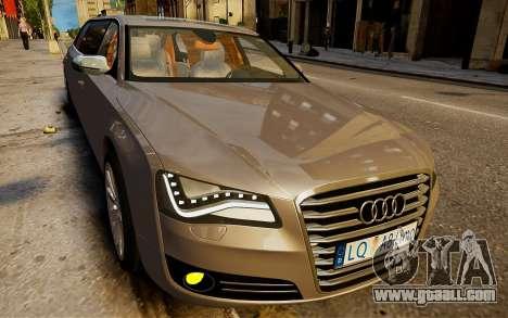 Audi A8 limousine for GTA 4 back left view