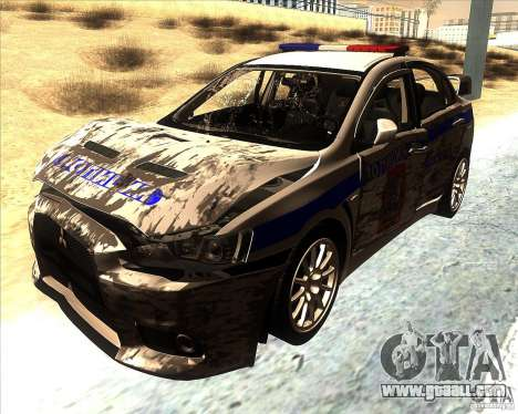 Mitsubishi Lancer Evolution X PPP Police for GTA San Andreas upper view