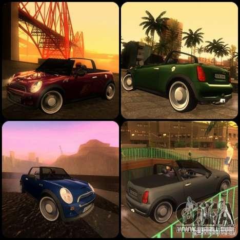 Mini Cooper S Cabrio for GTA San Andreas