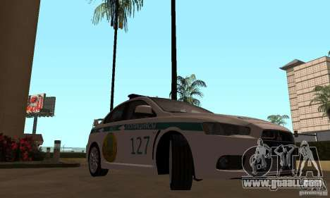 Mitsubishi Lancer Evolution X Police Of Kazakhst for GTA San Andreas right view