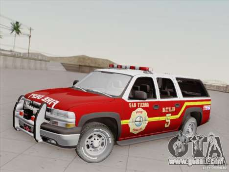Chevrolet Suburban SFFD for GTA San Andreas bottom view