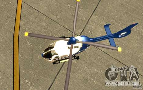 NYPD Eurocopter By SgtMartin_Riggs for GTA San Andreas back view