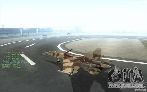 The Su-37 Terminator for GTA San Andreas inner view