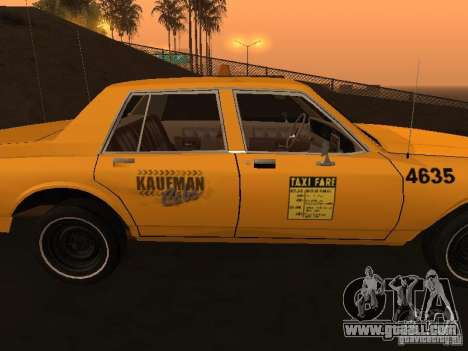 Chevrolet Caprice 1986 Taxi for GTA San Andreas back left view