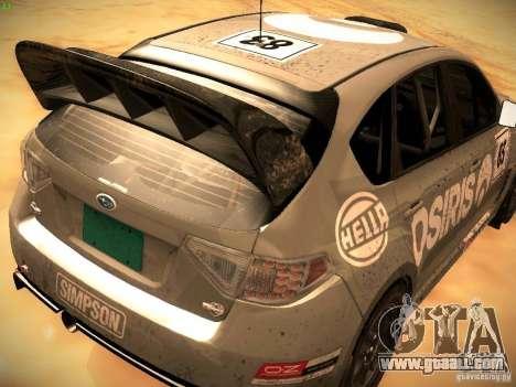 Subaru Impreza Gravel Rally for GTA San Andreas back view