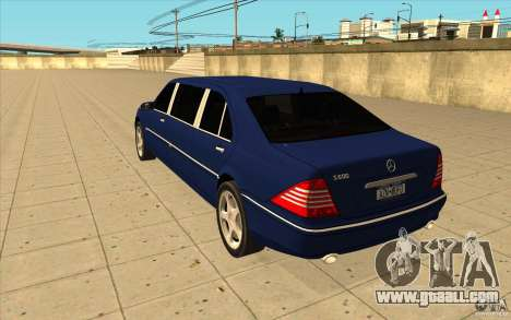 Mercedes-Benz S600 Pullman W220 for GTA San Andreas back left view
