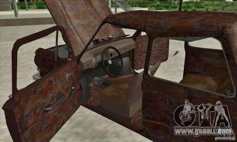 ZAZ 968 Abandoned v. 2 for GTA San Andreas inner view