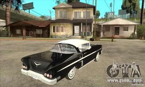 Chevrolet Impala 1958 for GTA San Andreas back view