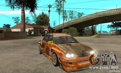 Subaru Impreza D1 WRX Yukes Team Orange for GTA San Andreas back view
