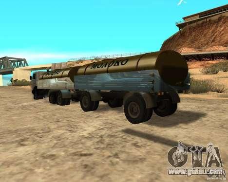 Trailer for Kamaz 53212 milk tanker for GTA San Andreas back left view