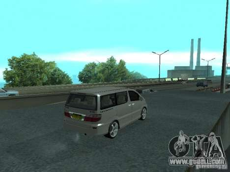 Toyota Alphard G Premium Taxi indonesia for GTA San Andreas back left view
