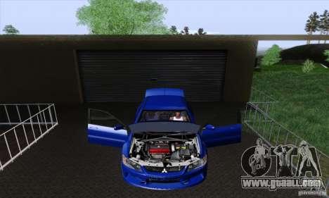 Mitsubishi Lancer Evolution 9 MR Edition for GTA San Andreas inner view