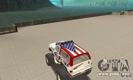 Chevrolet Blazer K5 Monster Skin 7 for GTA San Andreas back left view